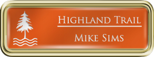 Framed Name Tag: Gold Plastic (rounded corners) - Tangerine and White Plastic Insert with Epoxy