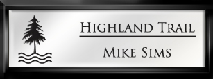 Framed Name Tag: Black Plastic (squared corners) - White and Black Plastic Insert with Epoxy