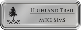 Framed Name Tag: Silver Plastic (rounded corners) - Smooth Silver and Black Plastic Insert with Epoxy