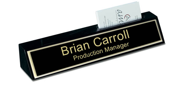 Black Marble Desk Name Plate with Card Holder - Black and Gold Plate with Shiny Gold Border