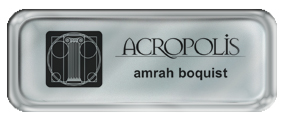 Metal Name Tag: Shiny Silver with Shiny Silver Metal Border