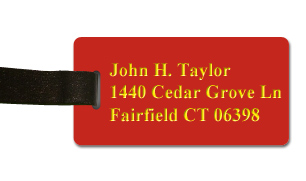 Smooth Plastic Luggage Tag: Crimson with Yellow - LM922-607