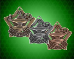 2 1/4 inch Lamp of Knowledge Star Medals