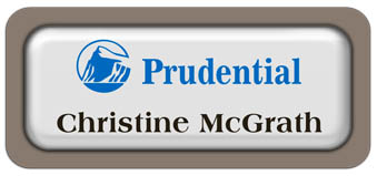 Metal Name Tag: White Metal Name Tag with a Taupe Plastic Border and Epoxy