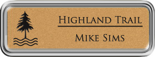 Framed Name Tag: Silver Plastic (rounded corners) - Smooth Gold and Black Plastic Insert