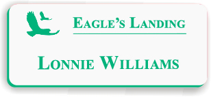 Smooth Plastic Name Tag: White with Bright Green - LM922-209