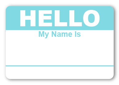 Sticker Hello My Name is Light Blue Name Tags