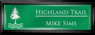 Framed Name Tag: Black Plastic (squared corners) - Kelley Green and White Plastic Insert with Epoxy