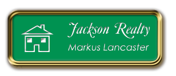 Gold Metal Framed Nametag with Kelley Green and White