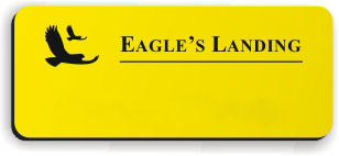 Blank Smooth Plastic Name Tag with Logo: Canary and Black - LM922-704