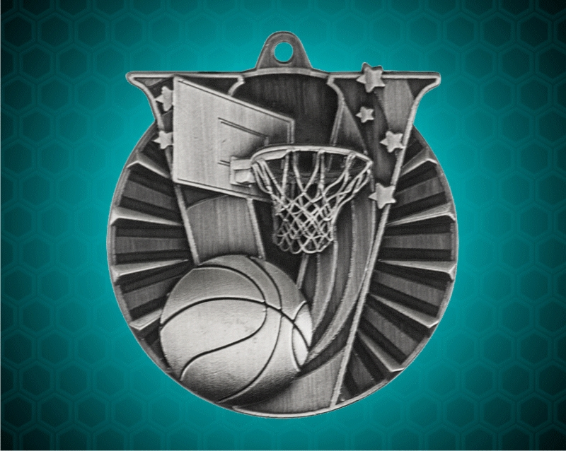 2 inch Silver Basketball Victory medal