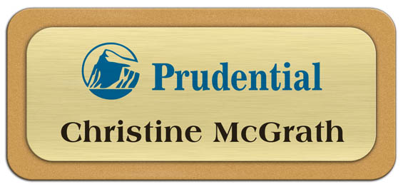 Metal Name Tag: Brushed Gold Metal Name Tag with a Gold Plastic Border