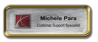 Gold Metal Framed Epoxy Nametag with Brushed Silver Metal Insert
