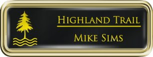 Framed Name Tag: Gold Plastic (rounded corners) - Black and Yellow Plastic Insert with Epoxy