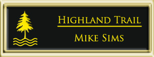 Framed Name Tag: Gold Plastic (squared corners) - Black and Yellow Plastic Insert