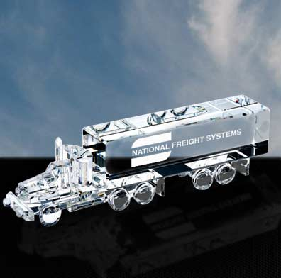 3 x 10 3/4 x 2 Inch Optic Crystal Truck Paperweight