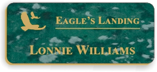 Smooth Plastic Name Tag: Verde with Gold - LM922-937