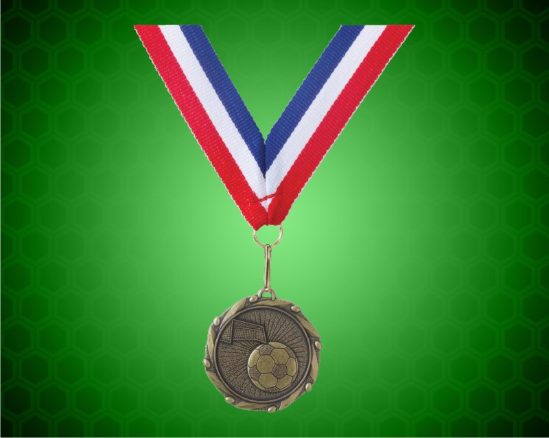 Gold Soccer Medal w/ Red, White, & Blue Ribbon