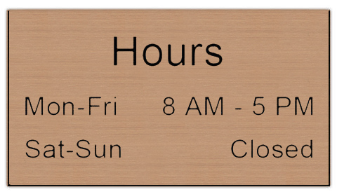 Smooth Plastic Sign: Brushed Copper with Black - LM922-894