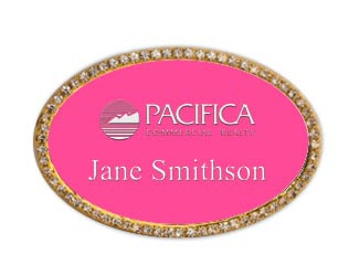 Gold Oval Framed Bling Name Tag With A Ribbon Pink With