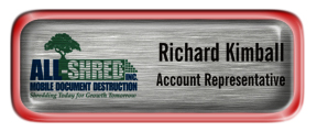 Metal Name Tag: Brushed Silver with Epoxy and Shiny Red Metal Border