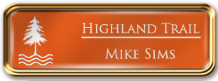 Framed Name Tag: Rose Gold Metal (rounded corners) - Tangerine and White Plastic Insert with Epoxy