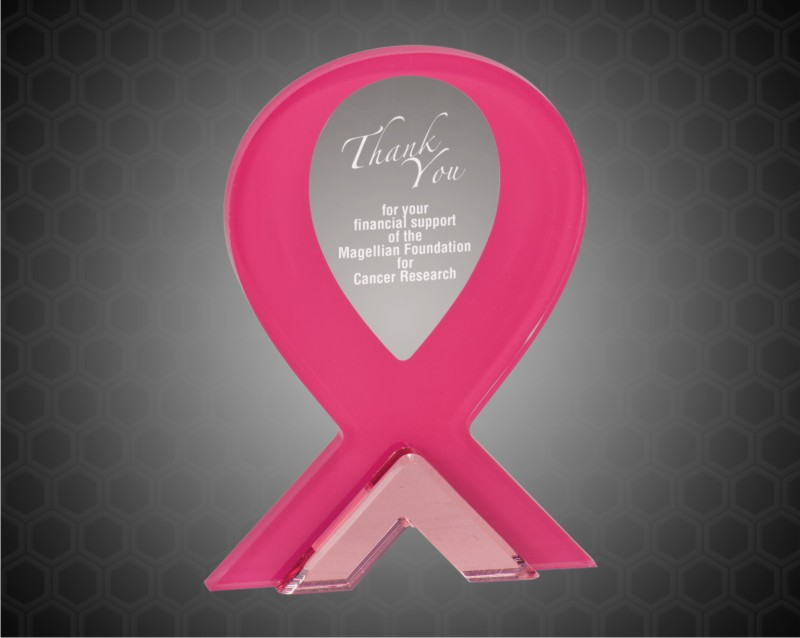 8 Inch Pink Ribbon Stand Up Acrylic
