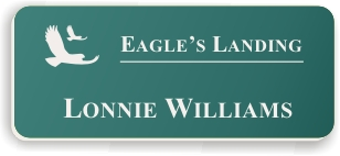 Smooth Plastic Name Tag: Celadon Green with White - LM922-972