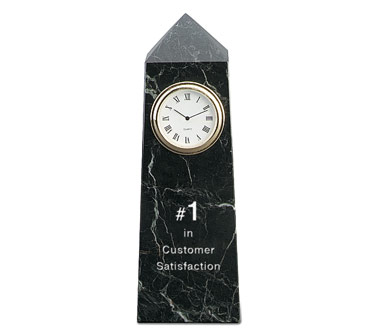6 x 2 x 2 Inch Black Zebra Obelisk Clock Paperweight