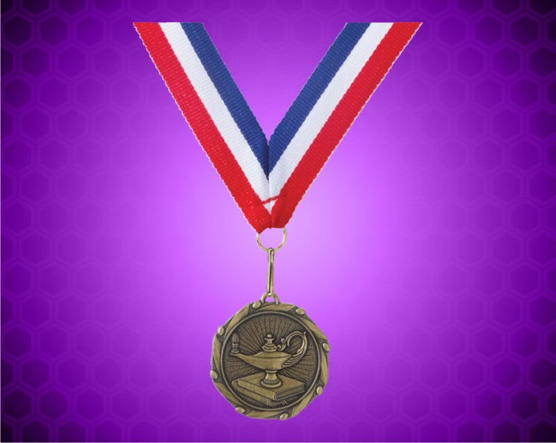 Gold Lamp of Knowledge Medal with a 7/8 x 32 inch Red, White, and Blue Ribbon
