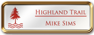 Framed Name Tag: Rose Gold Metal (rounded corners) - White and Crimson Plastic Insert with Epoxy