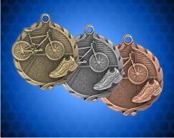 1 3/4 Inch Triathlon Wreath Medal