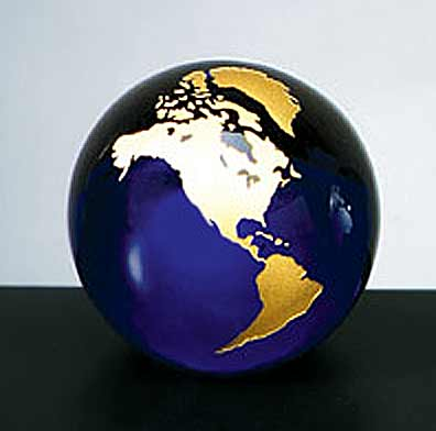 3 Inch Cobalt Blue with Gold World Globe Molten Glass Paperweight