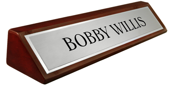 Rosewood Piano Finish Desk Plate -  Metal Brushed Silver Name Plate with a Shiny Silver Border 8""