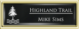 Framed Name Tag: Gold Plastic (squared corners) - Black and White Plastic Insert with Epoxy