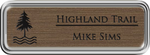 Framed Name Tag: Silver Plastic (rounded corners) - Deep Bronze and Black Plastic Insert