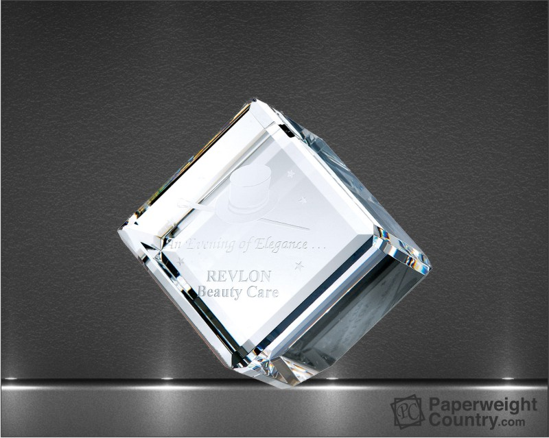 3 1/8 x 3 1/8 x 3 1/8 Inch Beveled Optic Crystal Diamond Cube Paperweight