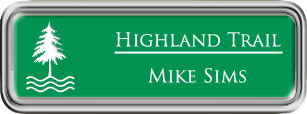 Framed Name Tag: Silver Plastic (rounded corners) - Kelley Green and White Plastic Insert