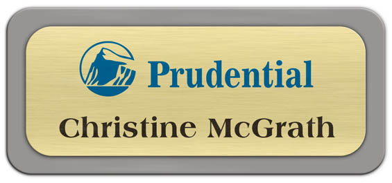Metal Name Tag: Brushed Gold Metal Name Tag with a Grey Plastic Border