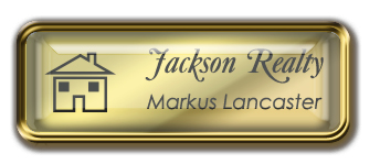 Framed Name Tag: Gold Metal (rounded corners) - Shiny Gold and Black Plastic Insert with Epoxy