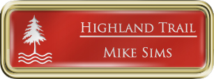 Framed Name Tag: Gold Plastic (rounded corners) - Crimson and White Plastic Insert with Epoxy