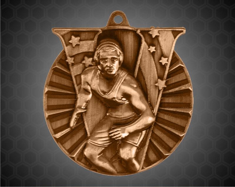 2 Inch Bronze Wrestling Victory Medal
