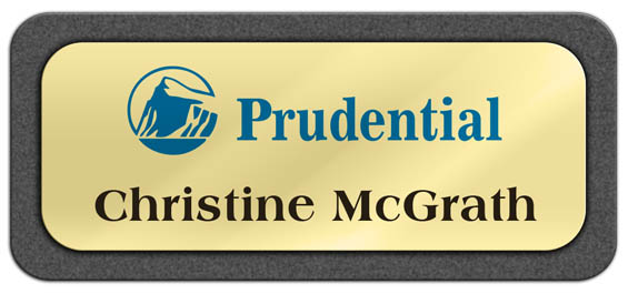 Metal Name Tag: Shiny Gold Metal Name Tag with a Graphite Plastic Border