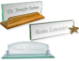 Glass and Crystal Desk Name Plates