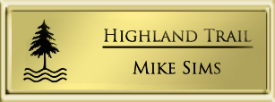 Framed Name Tag: Gold Plastic (squared corners) - Shiny Gold and Black Plastic Insert with Epoxy