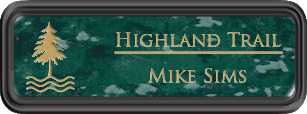 Framed Name Tag: Black Plastic (rounded corners) - Verde and Gold Plastic Insert