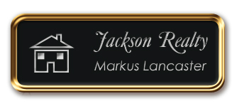 Rose Gold Metal Framed Nametag with Black and Silver