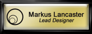 Framed Name Tag: Black Plastic (squared corners) - Shiny Gold and Black Plastic Insert with Epoxy