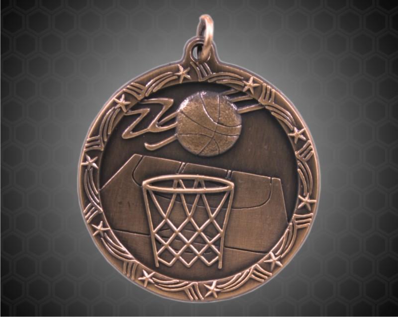 2 1/2 inch Bronze Basketball Shooting Star Medal