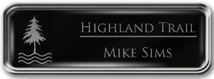 Framed Name Tag: Silver Metal (rounded corners) - Black and Silver Plastic Insert with Epoxy